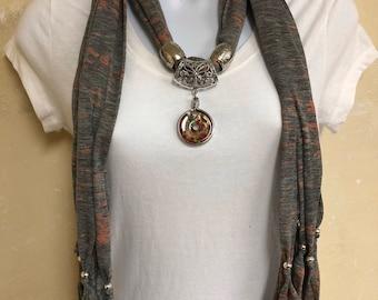 Light Weight Gray with Orange Jewelry Scarf