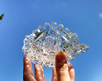 Antique ABP Crystal Nappy, Candy Dish, Hobstar, American Brilliant Period, Cut Crystal, Circa 1900s