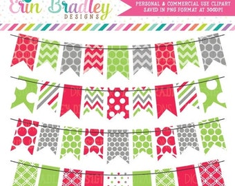 80% OFF SALE Holiday Red Green and Gray Bunting Banner Flag Clipart Clip Art Set Personal & Commercial Use