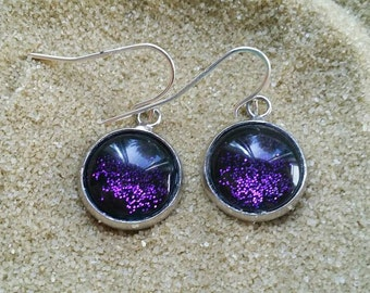 Purple Handpainted Earrings, Nail Polish Earrings, Glitter Earrings, Sparkly Earrings, Nailpolish Earrings, Boho Earrings, Hypoallergenic