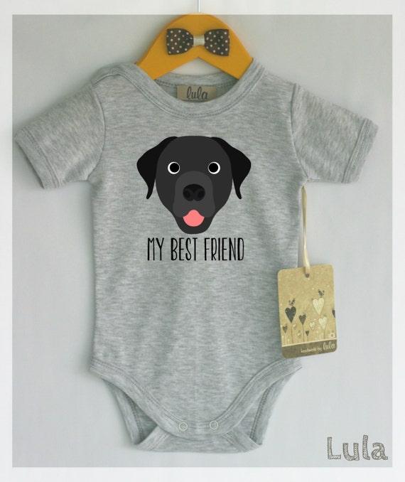 Black Labrador Baby Clothes Dog Baby Best Friend Print Cute