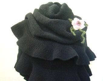 Black Wool Ruffle Shawl, Scarf, Hand Knit, Warm Winter Accessory, For Her, Crochet Flower, Bridal Wrap, Bridesmaid Favor