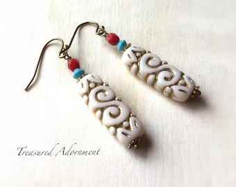 Scroll earrings, Swarovski Crystals, Czech beads, vintage style retro earrings, BOHO Bohemian, Holiday gift present, Gold and Ivory earrings