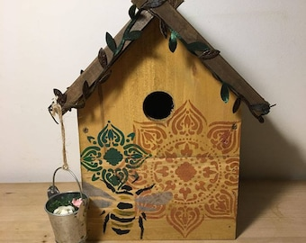 Handmade Uniquely Decorated Birdhouse