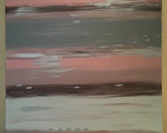 8 - Mauve, grey and brown, abstract acrylic painting, 16x20