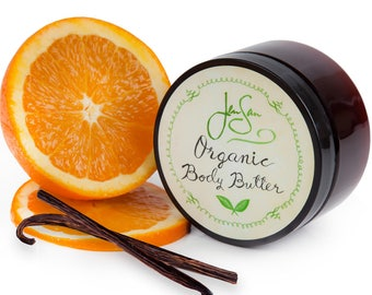 Sweet Orange Vanilla Organic Body Butter with shea butter and essential oils, 4 oz (114 grams)