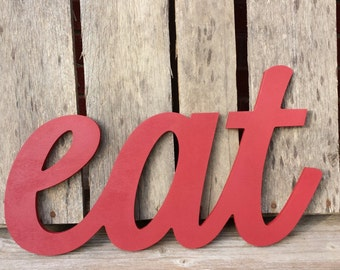 Wooden eat sign, kitchen sign, Wooden wall hanging