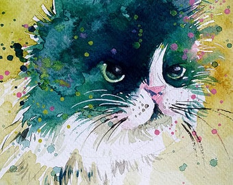 Puffy Cat • watercolour with gouache • 13.3 x 20 cm • Original Painting