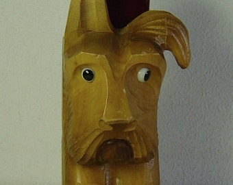 Art Deco carved wooden Scotty dog brush holder to hang at a wall