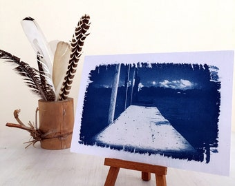 Cyanotype Print, Indigo Blue, Jetty Picture, Handmade Photo on Watercolor Paper