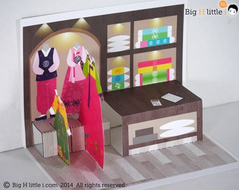 Creative Playthings / Korean Traditional Costume Shop / Paper Dollhouse / Learning Toys / Girl Toys