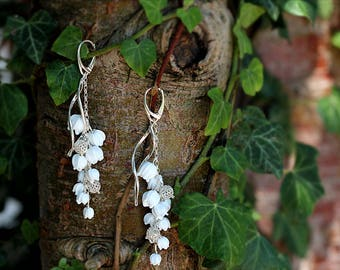 Lily of the valley sterling silver long earrings,   lampwork sra, spring
