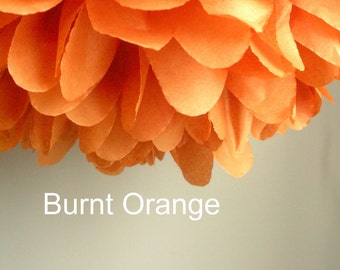 1 Burnt Orange Tissue Paper Pom Pom, Paper Poms, Wedding tissue paper poms, paper pom poms, tissue flowers, birthday party decor