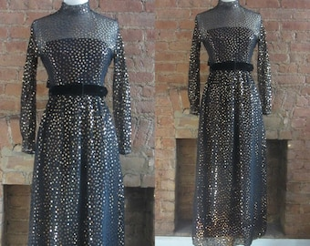 1970s Victor Costa sequin sheer illusion dress • 70's disco • size small • Sparkle Neely Sparkle
