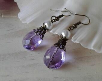 Victorian Earrings Purple Earrings Pearl Earrings