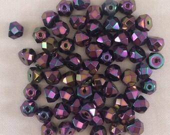 Fire Polished Hill Beads, 6mm, Iris Purple, 01375-06MM-IRPU, 50 Beads, Czech Glass