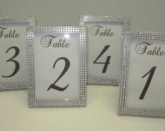 5 x 7 Set of (15) Frames in Silver Rhinestone - Wedding or Special Event. Table #'s not included