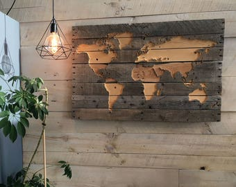 World map from recycled pallet wood