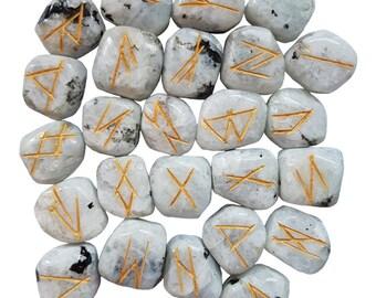 Rainbow Moonstone Rune Set, Norse Elder Futhark Gold Etched Rune Set, Moonstone Runes, Moonstone Gemstone Rune Set, Rune Divination Tools