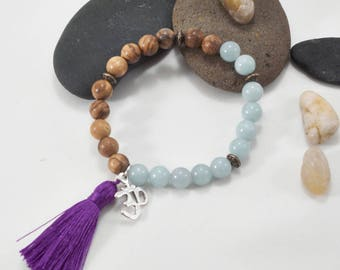 Natural Amazonite and Vietnam Aloeswood Bracelet with Ohm Charm & Tassel