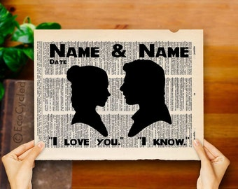 I Love You I Know Star Wars Princess Leia Han Solo Silhouette with Names & Date Custom Wedding Anniversary Vintage Star Wars Gift Print