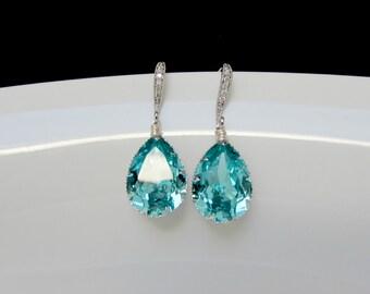 swarovski turquoise earrings , aquamarine bridal earring , swarovski bridal earrings , bridesmaids earrings,blue earrings ,sea blue earrings