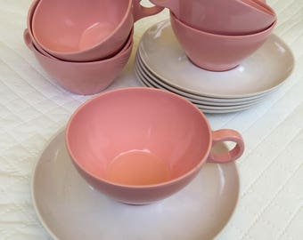 VINTAGE Unmarked set Of 6 Melamine  Pink Coffee Cups Teacups and saucers, Glamping Camping Box J