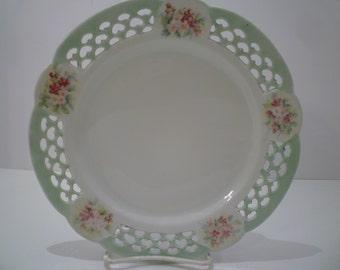 PLATE With ORNATE OPENWORK Rim.Handpainted Bone China Plate. Vintage English Plate.