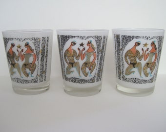 Vintage Mid Century Bar Glasses by H. Sternberg - Set of three