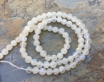 Rainbow Moonstone Beads, Round Moonstone Beads, 13 inch strand, 4mm