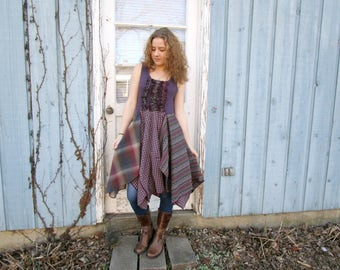 Altered Clothing// Reconstructed Purple Green Knit Plaid Sleeveless Dress// Bohemian Shabby Chic// Medium// Cable Knit Ribbed// emmevielle