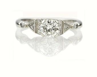1950s Platinum Diamond Engagement Ring