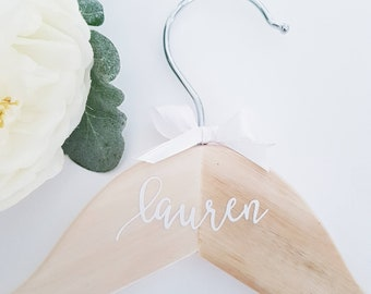 Natural Wooden Personalized Coat Hanger DECAL ONLY  for Bridal Party, Wedding Hangers, Christening Coat Hanger
