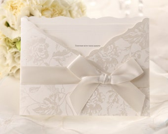 Floral pocket invitation with ribbon