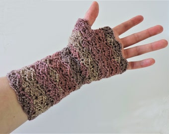 Fingerless Mitts - Crochet - Gloves - Wrist Warmers - Wool