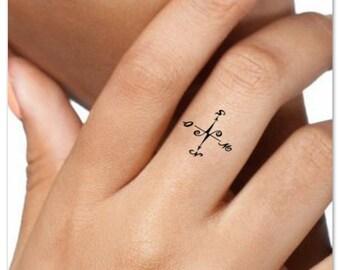 Temporary Tattoo Compass Finger Fake Tattoos Thin Durable