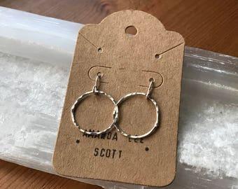 Hammered Hoop Circle Dangle Earrings in Sterling Silver