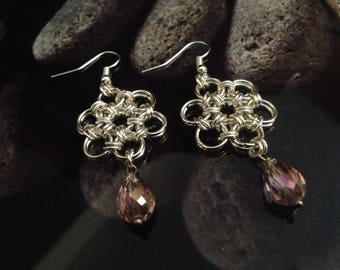 Japanese Flower chainmail silver plated earrings with pink crystal gem dangle charm