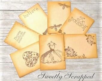 7 Journal Cards ... Vintage look, Glittered, Dress, Bee, Rose, Dreams, Heart, Sparkle, Aged, Scrapbooking, Cardmaking, Embellishments, Blank