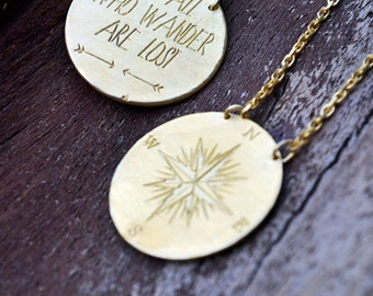 Compass Pendant / Not All Who /Wander Are Lost / Inspirational Women / Gift for Women/Inspirational Gift / Compass Necklace/Mothers day