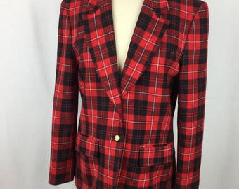 Vintage Pendleton Red/Black Wool Plaid Blazer Festive! W's Medium - Bin 3