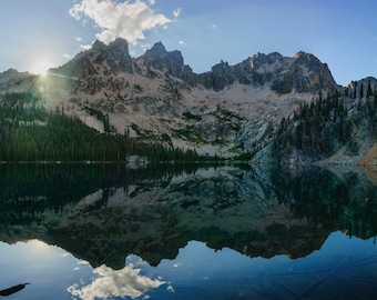 Water Reflection Photo, Sawtooth Mountains Idaho, Mountain Lake, Fine Art Landscape Photography, Vacation Home Decor, Mountain Cabin Artwork