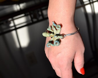 Octopus Bracelet on Silver Cuff bracelet