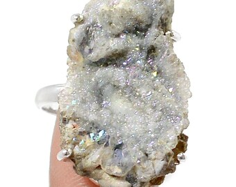 Brazilian Cave Concho Druzy set in solid sterling Silver. Ring Size 8.5 4488