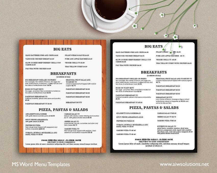 Menú de alimentos diseño de menús menús de comida para