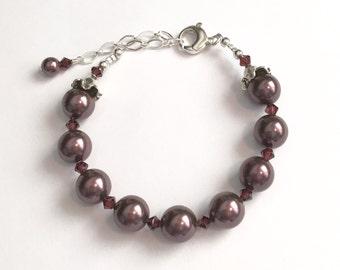 Swarovski Burgundy Crystal and Pearl Bracelet    SRAJD   handmade birthday  trend