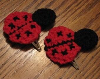 Ladybug hair clips