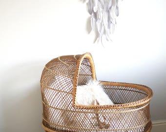 Vintage wicker boho style crib