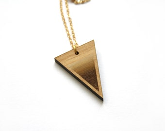 Triangle pendant, wooden graphic necklace, geometric chic modern minimalist jewel, natural wood, woman jewel, made in France Paris, gift