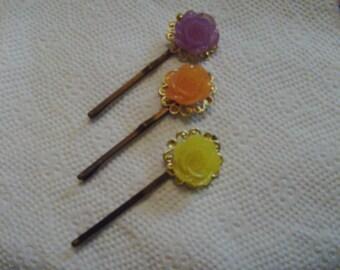 Hair Pin Set - Filigree Hair Pin Set - Flower Hair Pin Set - Rose Hair Pins - Cabachon Hair Pins - Gift Set - Boutique Hair Pins